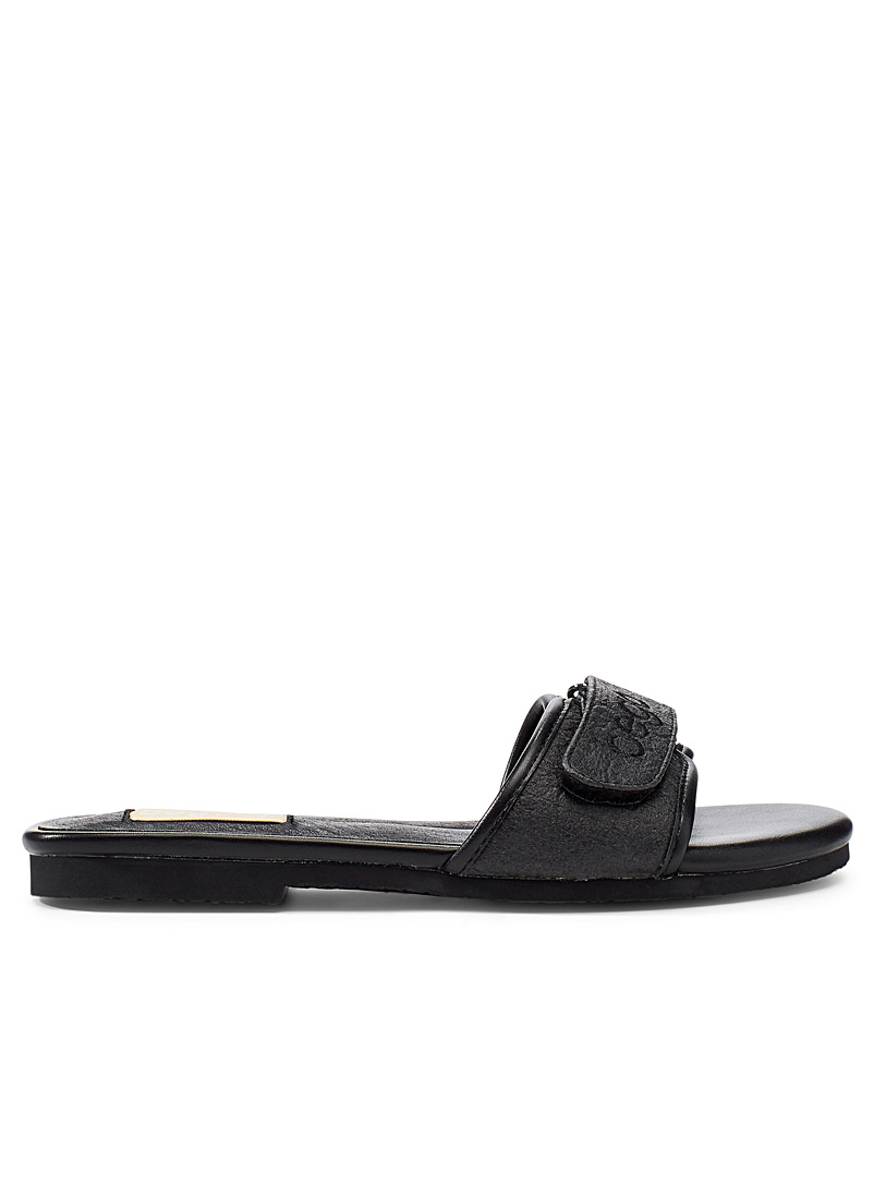 Bego Black Lex pineapple leather sandals for women