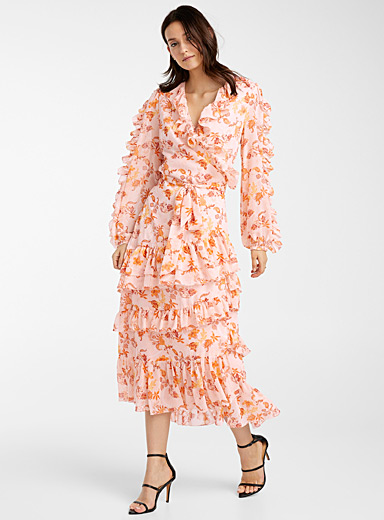 True Decadence Patterned Orange Peach flower ruffle dress for women