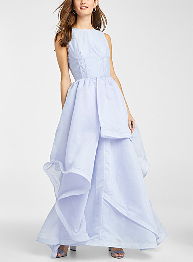 Light blue asymmetric ruffle dress