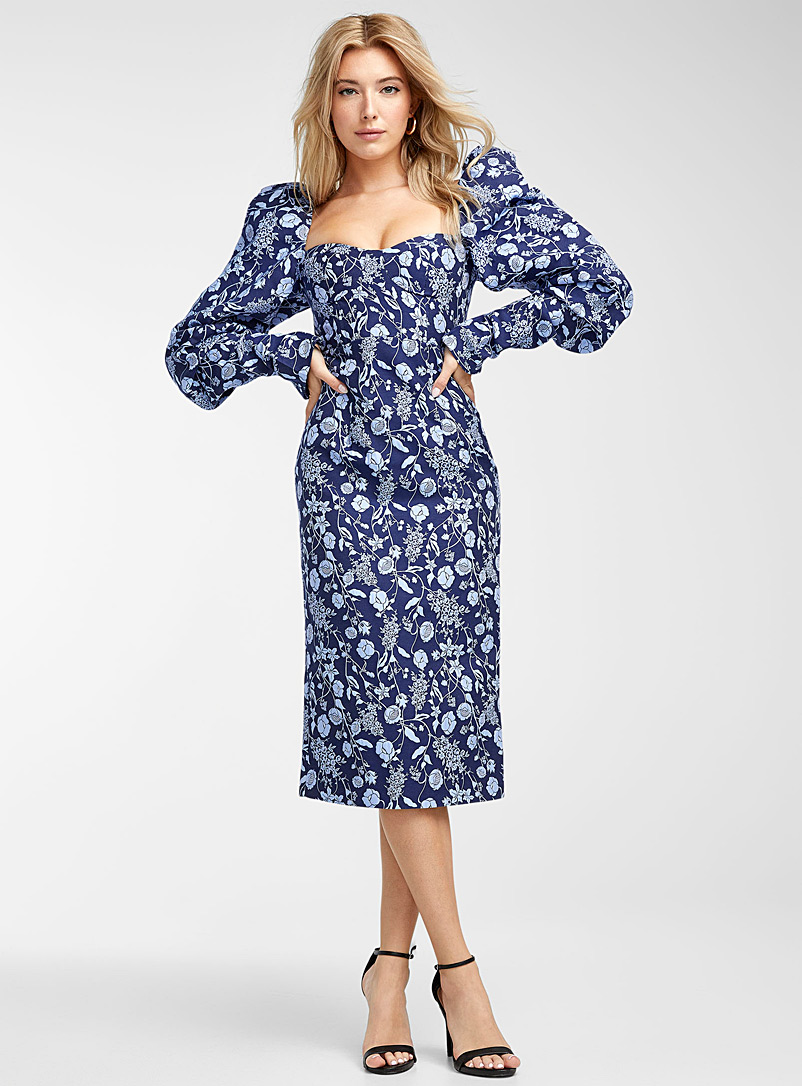 True Decadence Patterned Blue Puff-sleeve jacquard floral dress for women