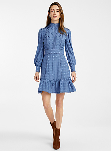 True Decadence Blue Jacquard ruffle dot dress for women