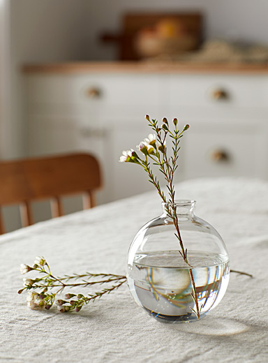 Water drop blown glass mini bud vase  9 cm in diameter