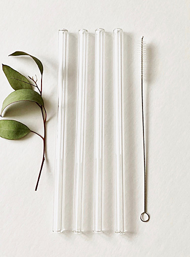 Pure transparency glass straws  Set of 4