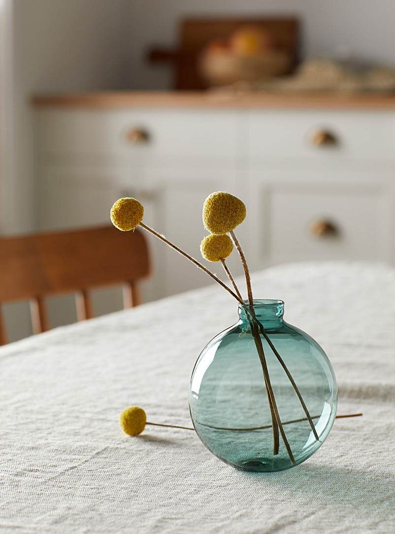 Brook Drabot Teal Wild lake blown glass mini bud vase  9 cm in diameter