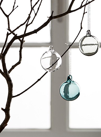 Blown glass Christmas bauble set