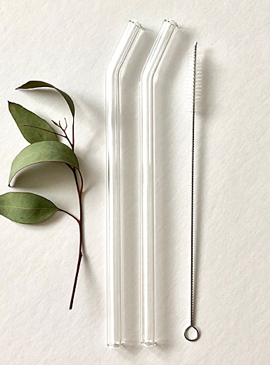 Pure transparency bent glass straws  Set of 2