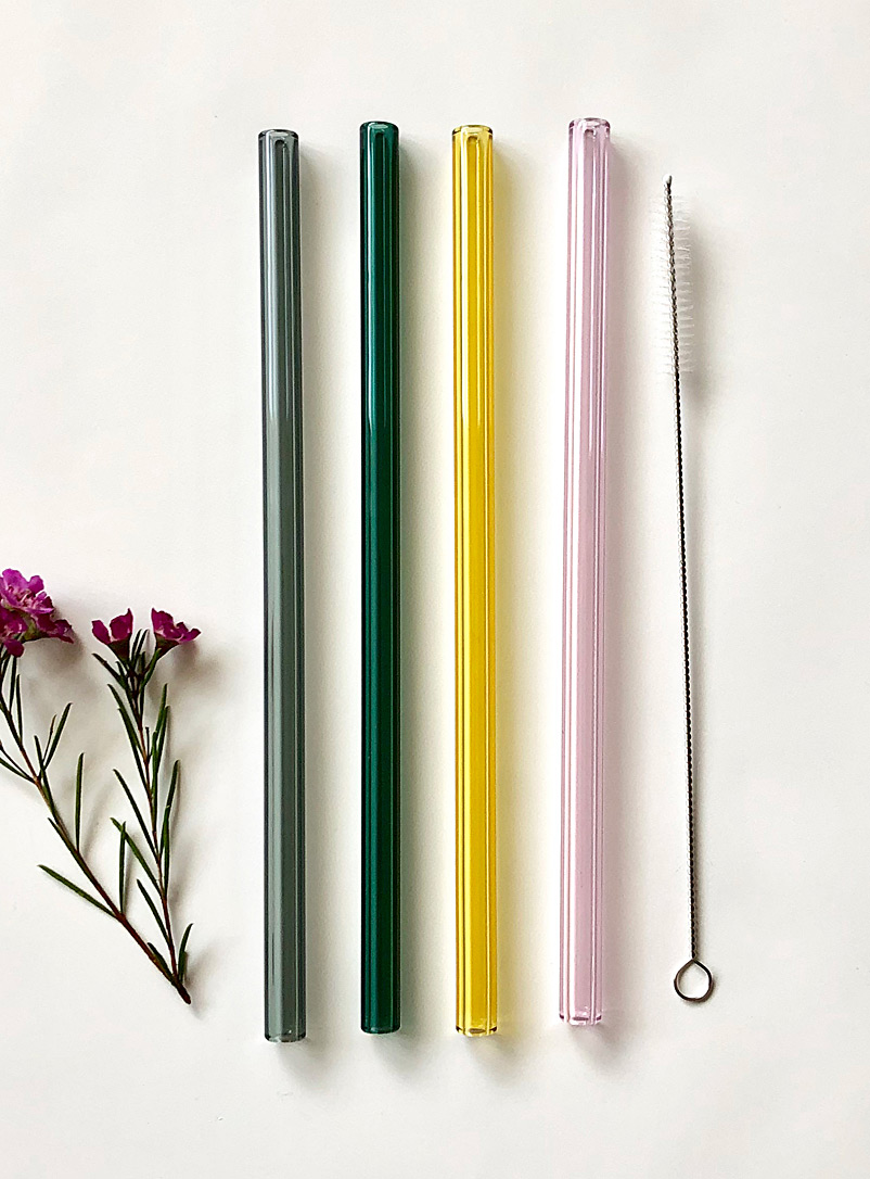 Natural shades glass straws  Set of 4