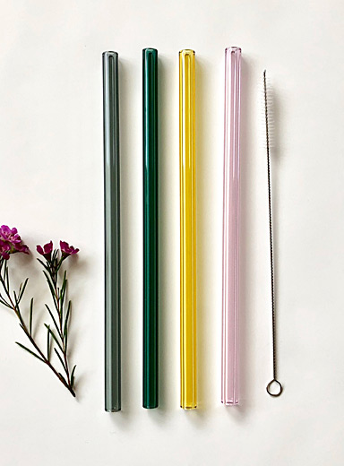 Natural shades glass straws <br>Set of 4