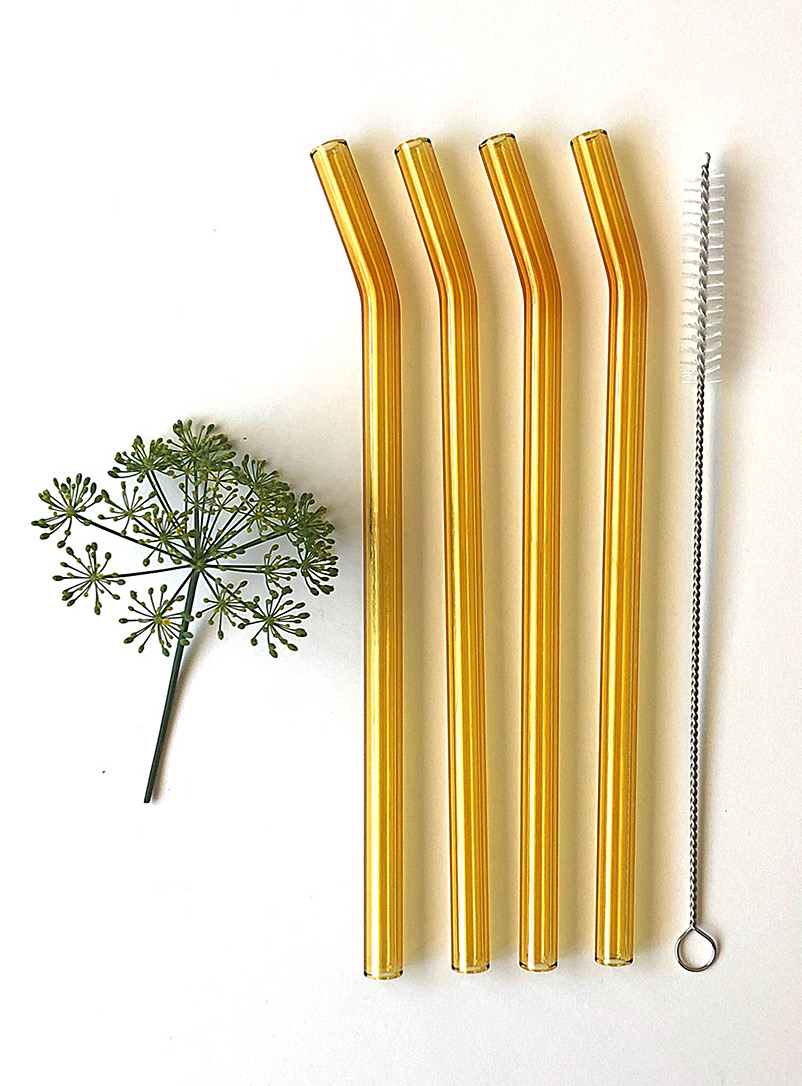 Sunny yellow bent glass straws  Set of 2 - Brook Drabot - Dark Yellow