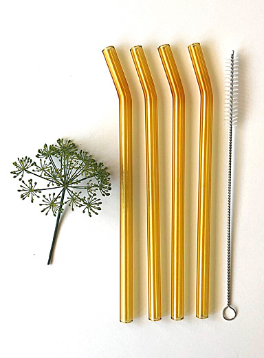 Sunny yellow bent glass straws  Set of 2