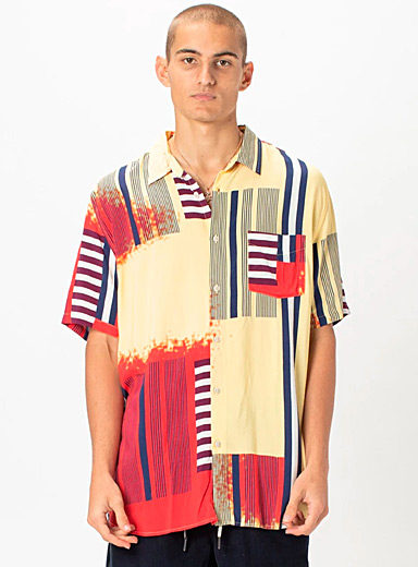 Barney Cools Patterned Yellow Striped collage shirt for men