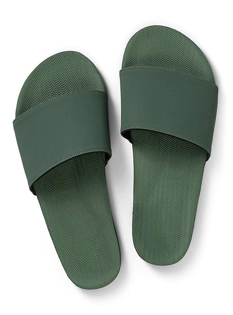 Indosole Lime Green Minimalist slides for women