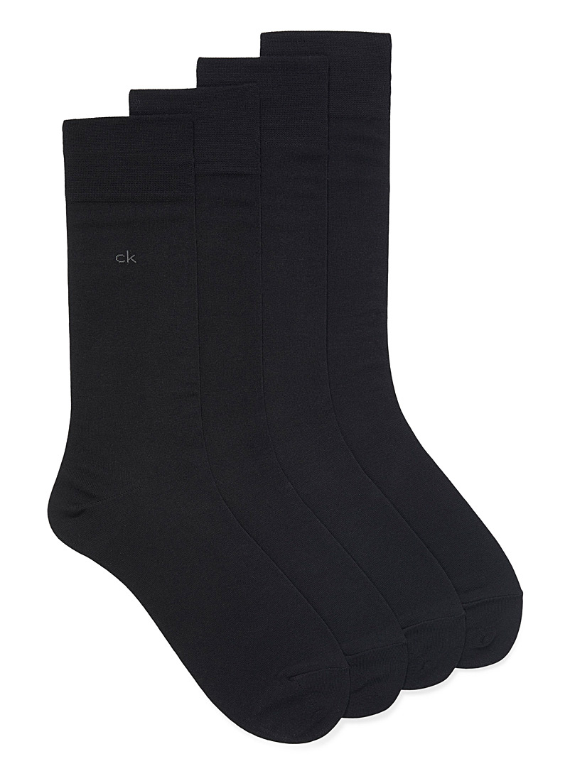 Fine knit solid socks  4-pack