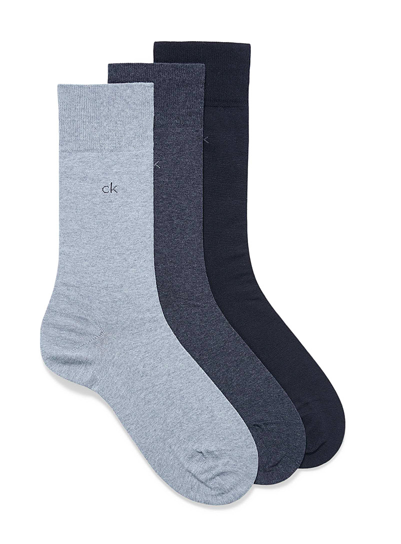 Calvin Klein Blue Fine knit solid socks  3-pack for men