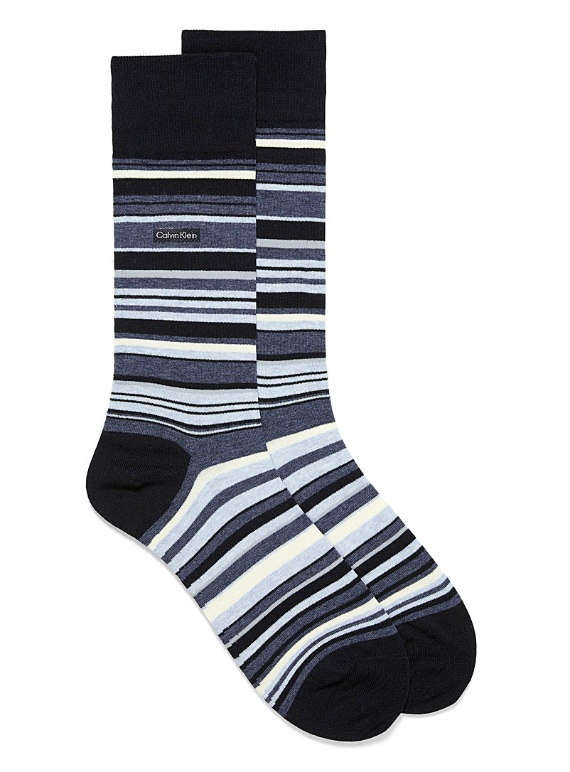 Calvin Klein Black Multi-stripe dress socks for men