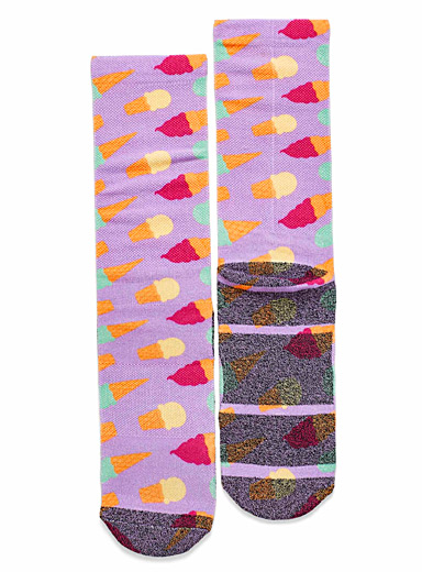 Simons Mauve Ice cream cone waffled socks for women
