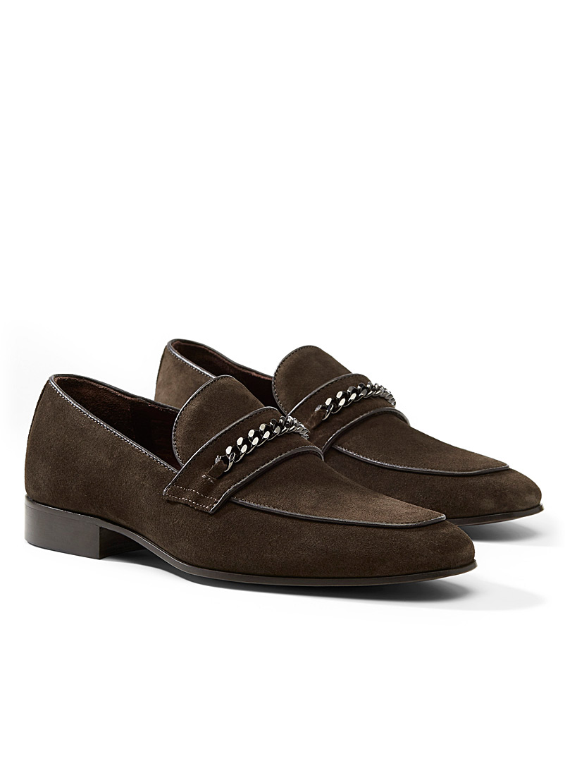 Simons Dark Brown Equestrian accent suede loafers  Men for men