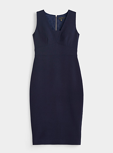 Ted Baker Marine Blue Astriid fitted midi dress for women