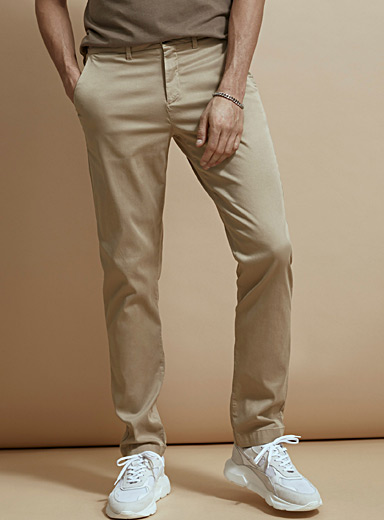 Stretch lyocell chinos London fit-Slim straight