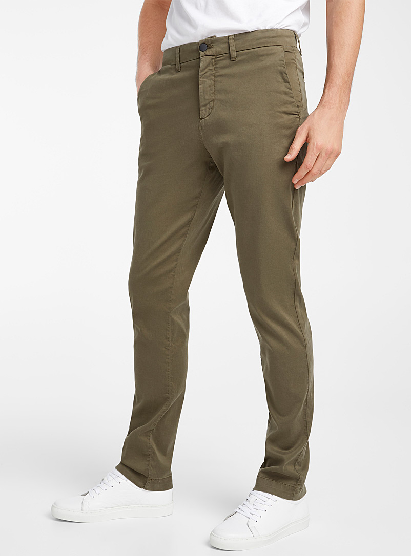 Le 31 Mossy Green Stretch lyocell chinos London fit-Slim straight for men