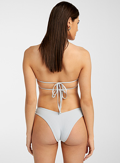 Frankies Light Grey Ruby ruched V cheeky bottom for women