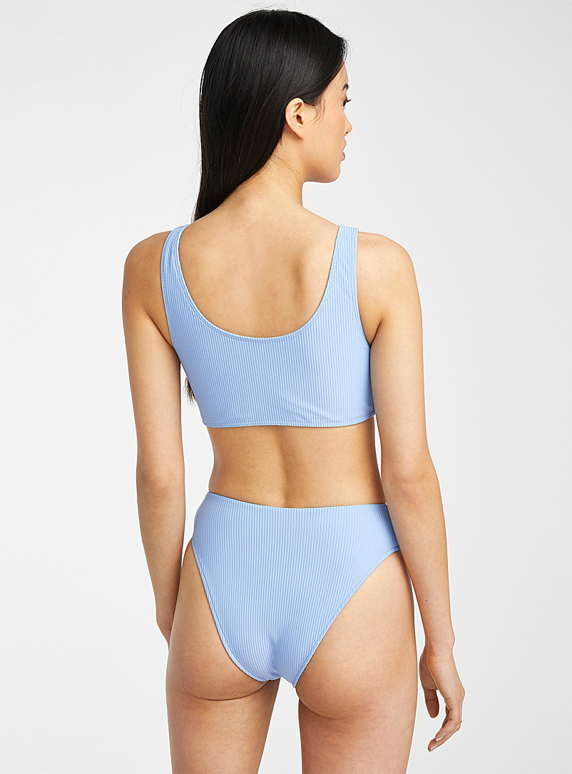 Frankies Baby Blue Connor sporty ribbed bralette top for women