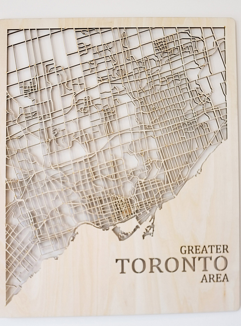 Printable Minds Assorted Laser-cut wood Toronto map