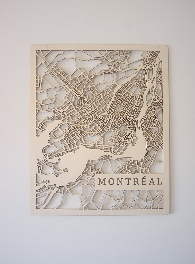 Printable Minds Assorted Laser-cut wood Montreal map