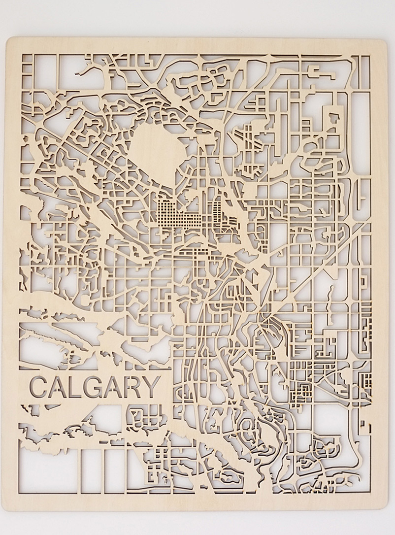 Printable Minds Assorted Laser-cut wood Calgary map