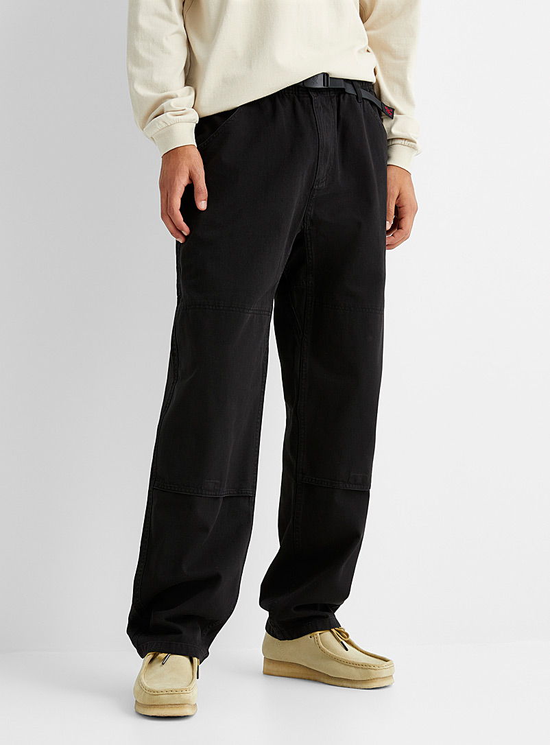 Gramicci Black Belted-waist loose pant Straight fit for men