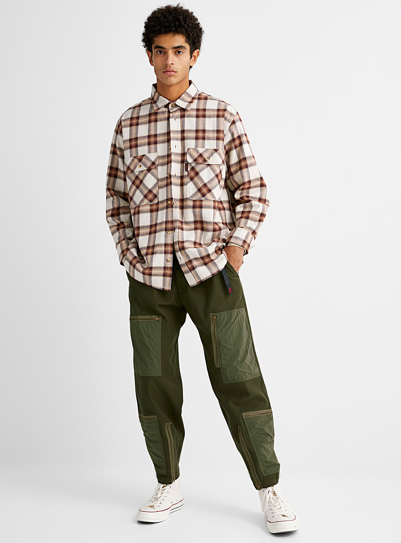 Gramicci Green Mixed media utility pant Straight fit for men