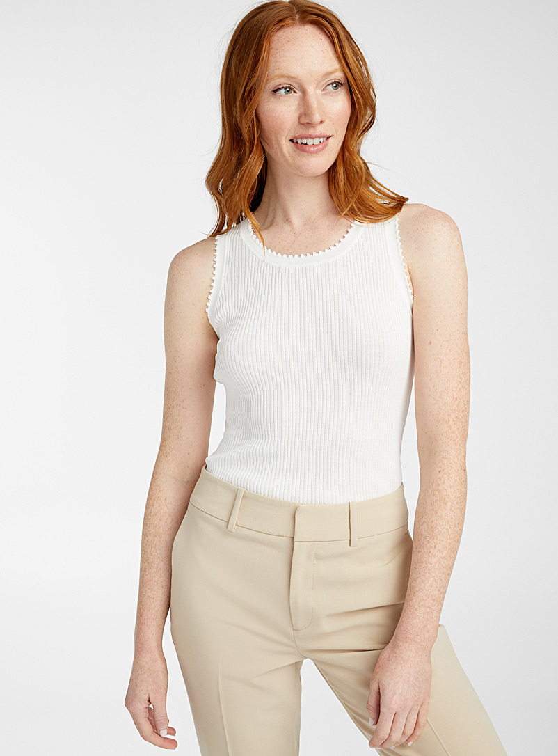 TheKorner White Serrated collar ribbed cami for women