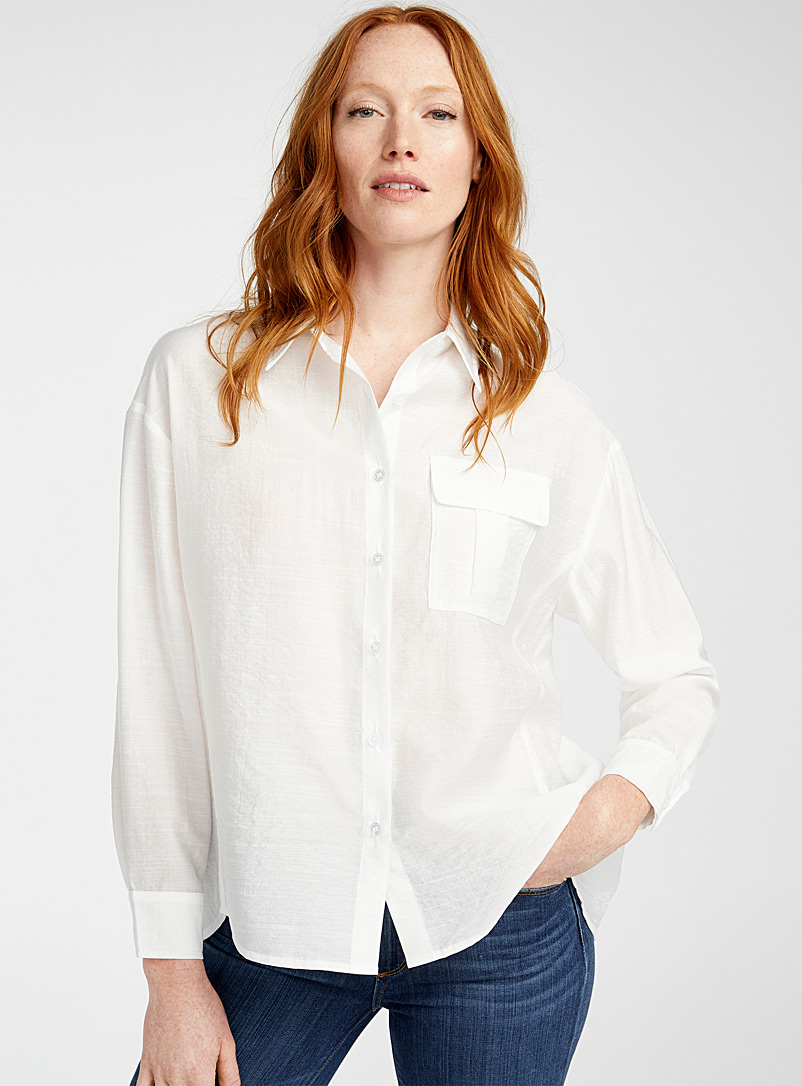 TheKorner White Loose airy shirt for women