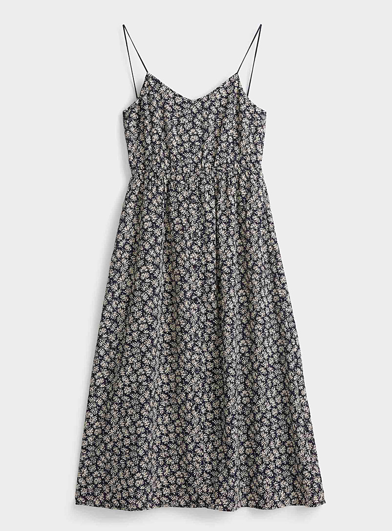 TheKorner Patterned Blue Floral tie-back dress for women