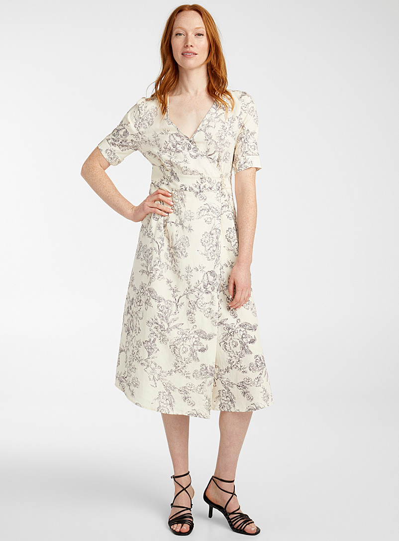 TheKorner Patterned Ecru Floral sketch wrap dress for women