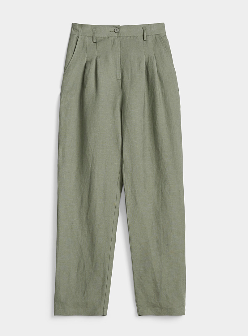 TheKorner Khaki Lightweight khaki wide-leg pant for women