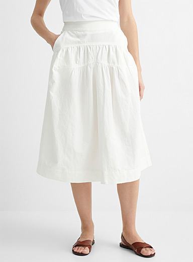 Gathered seam midi skirt