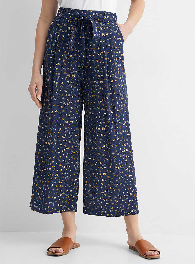 TheKorner Patterned Blue Flowers in the wind wide-leg pant for women
