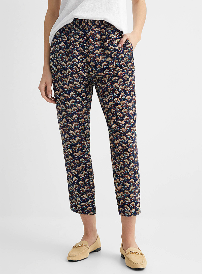 TheKorner Patterned Blue Retro floral fluid pant for women