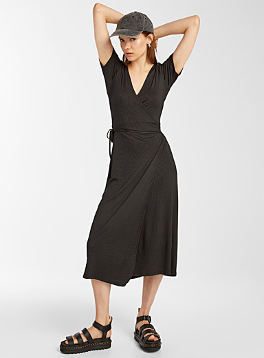 Twik Black TENCEL* modal wrap maxi dress for women
