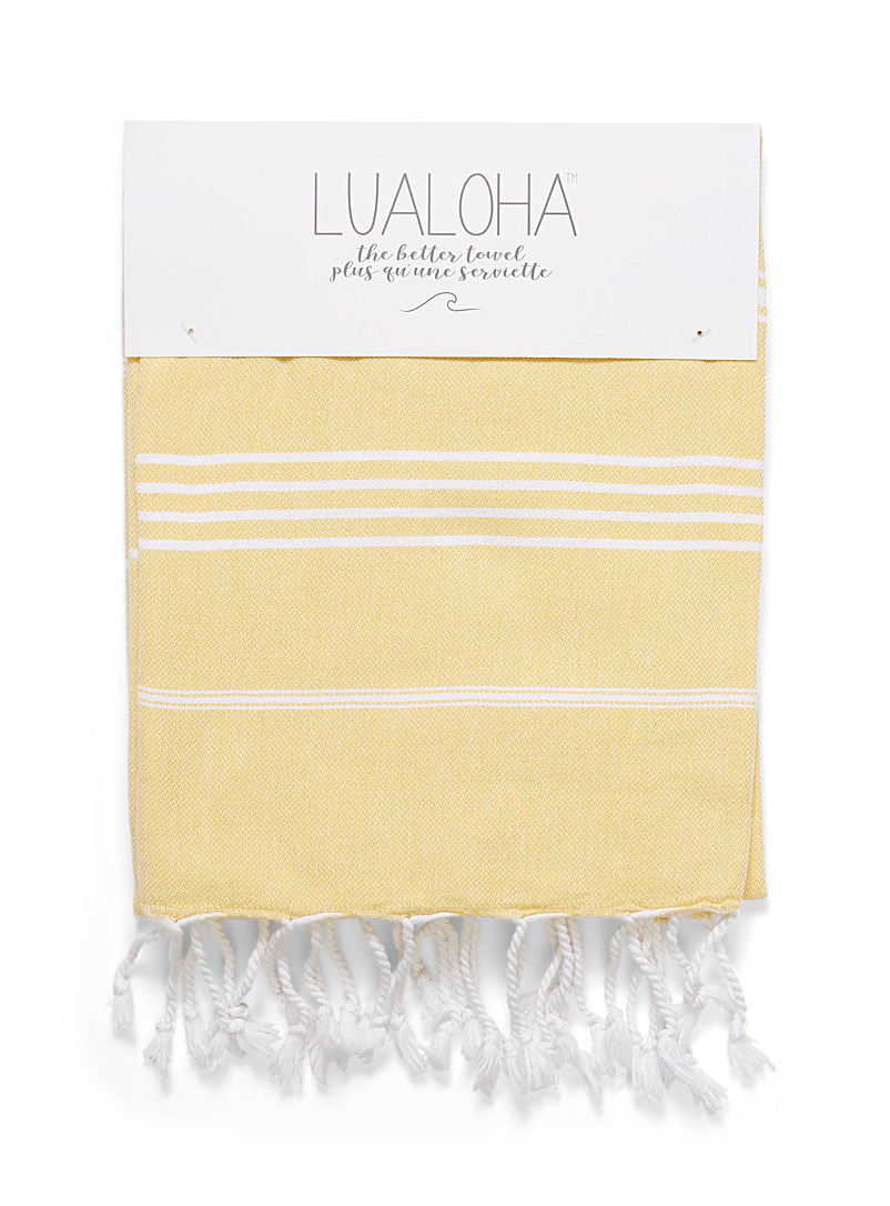 Lualoha Golden Yellow Traditional fine stripe fouta for women