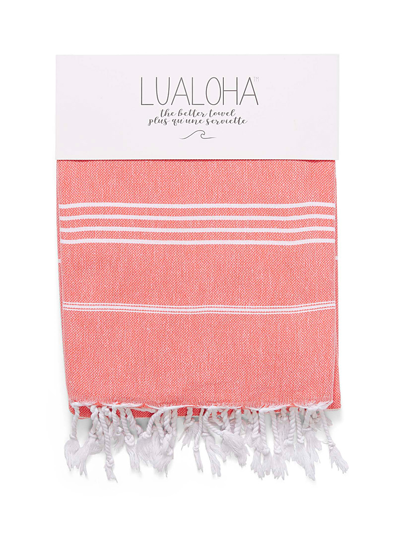 Lualoha Orange Traditional fine stripe fouta for women