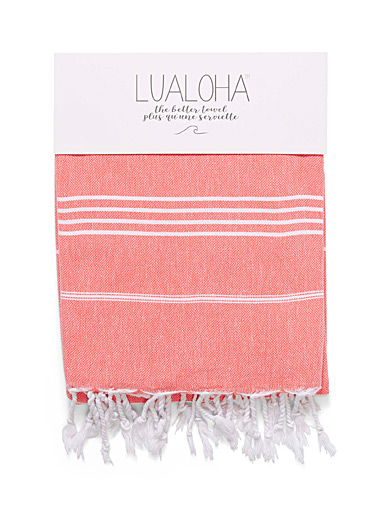 Lualoha: La fouta fines rayures traditionnelles Orange pour femme