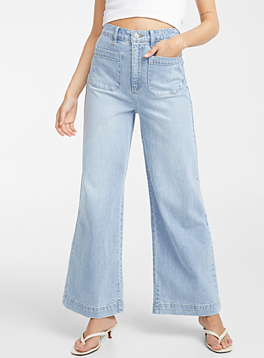 Patch pocket wide-leg jean