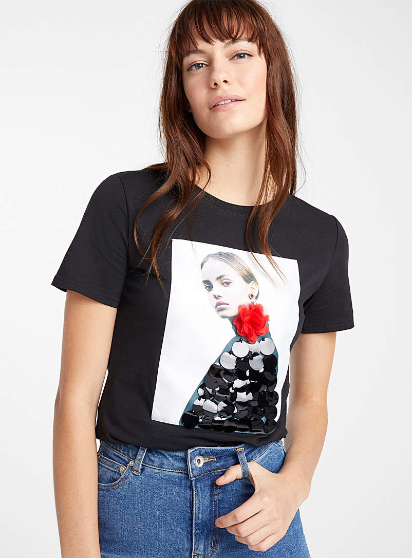 Icône Black Decorated picture tee for women