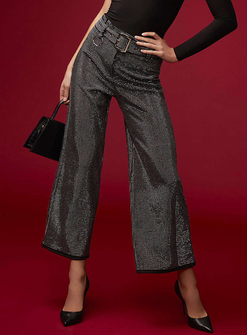 Glam crystal wide-leg pant - Wide leg - Black