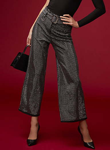 Glam crystal wide-leg pant