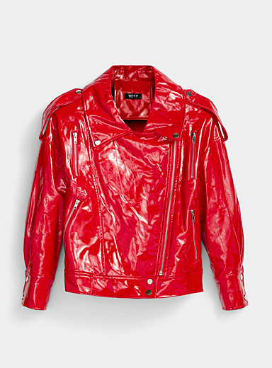 Icône Red Red vinyl biker jacket for women