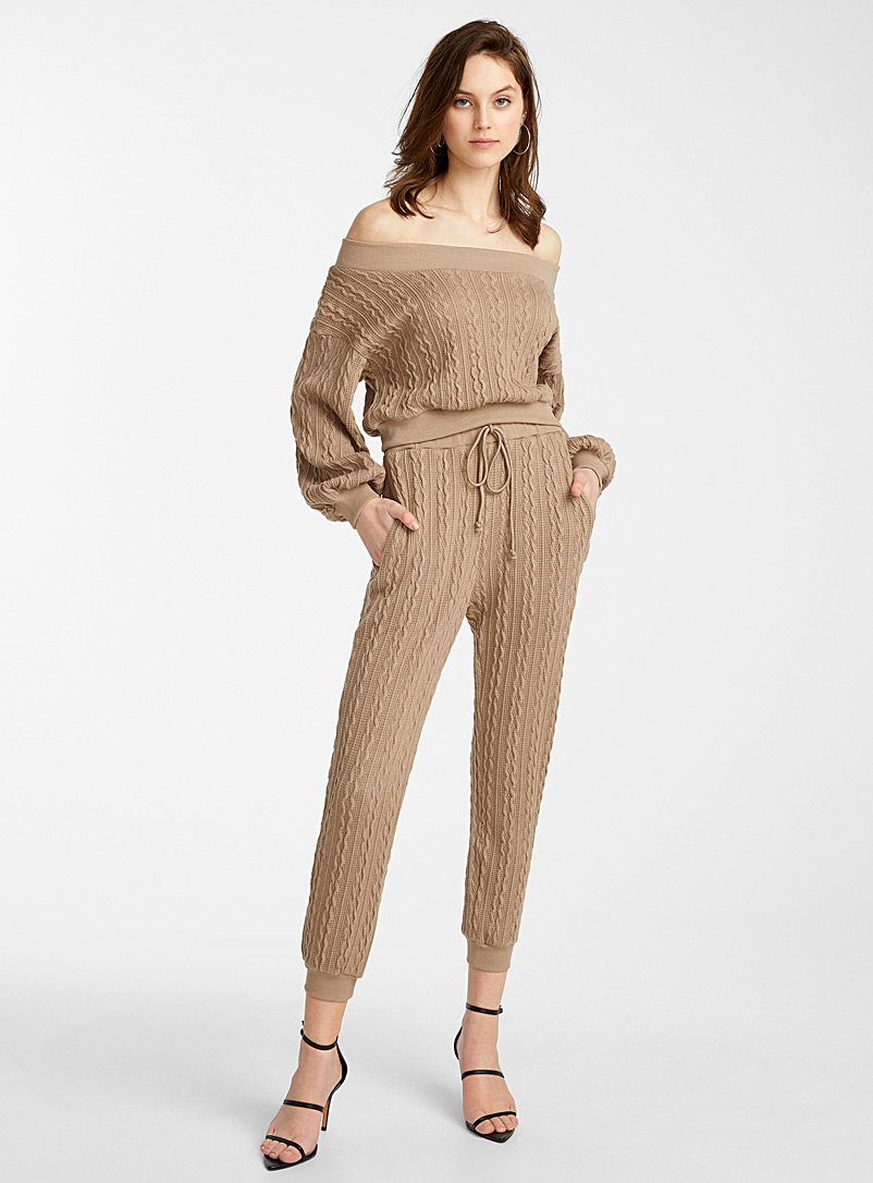 Icône Light Brown Cable knit jogger pant for women