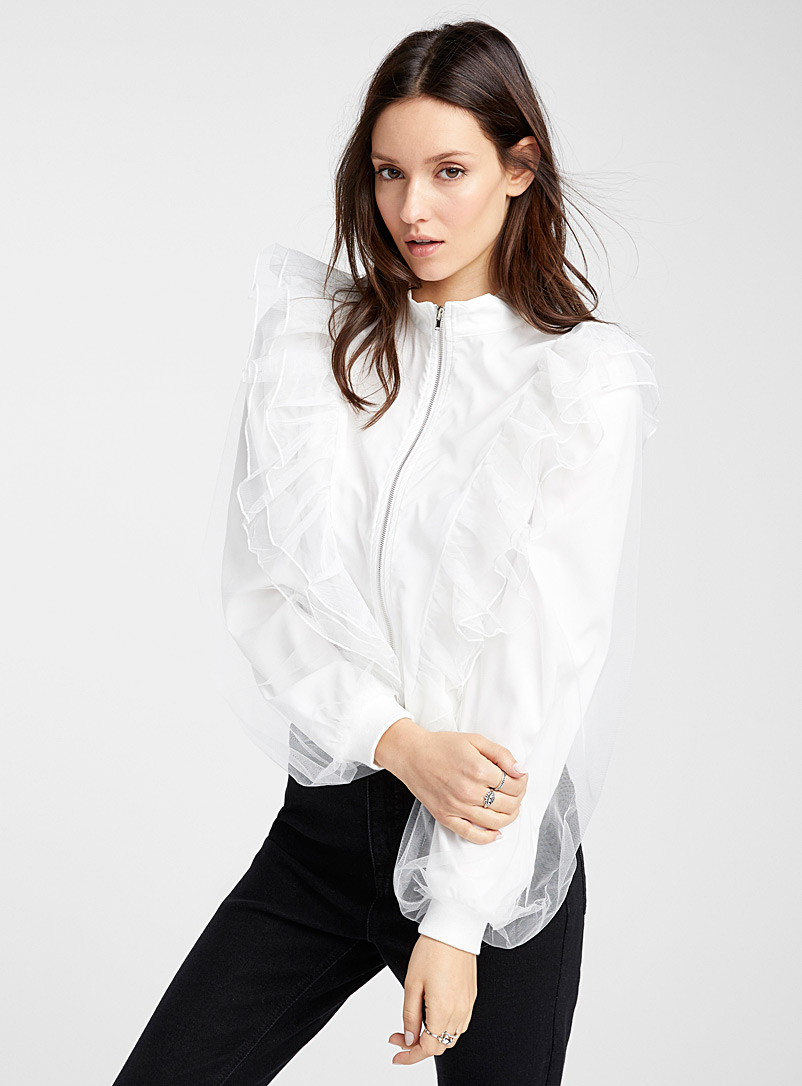 Icône White Ruffle cropped bomber jacket for women